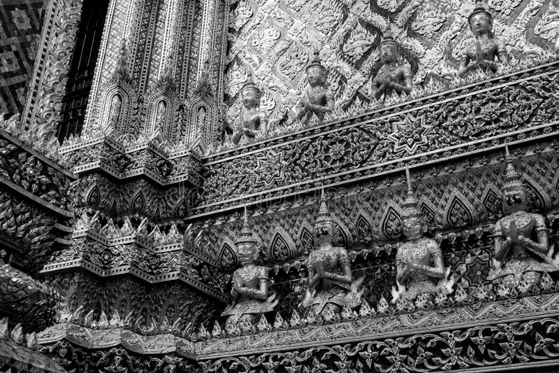 Giant of Wat Phra Kaew or Grand Palace, Bangkok, Thailand. Giant of Thailand stand in the Grand Palace, Black and White stock image