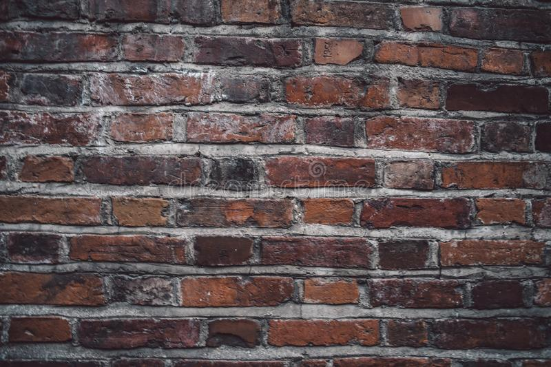 Giant tiled, industrial red brick wall background royalty free stock image