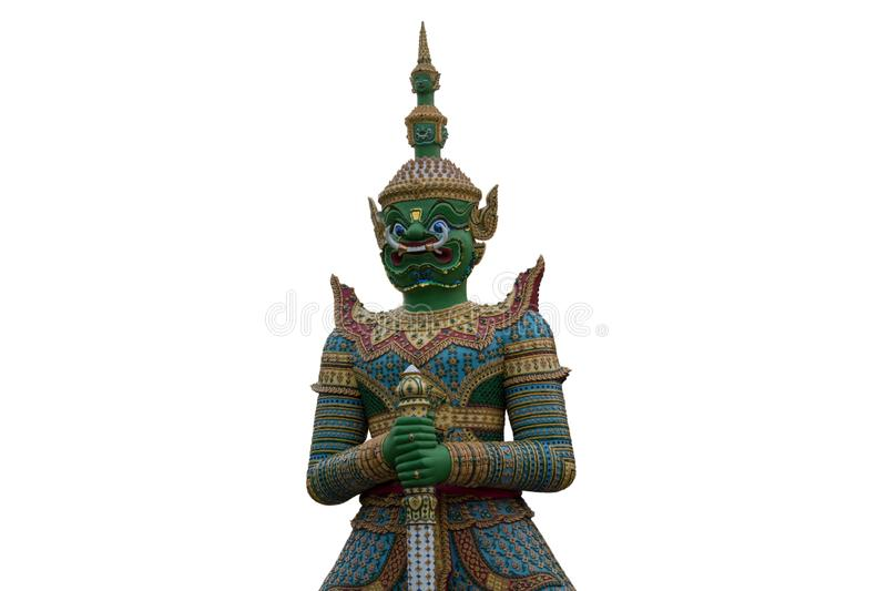 Giant or Titan statue standing in Temple Thailand on White background Isolate stock photo