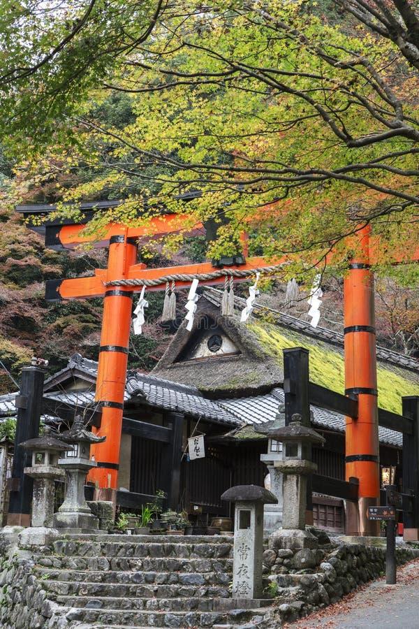 Giant torii gate at Shinto shrine in autumn. Arashiyama, Kyoto, Japan royalty free stock image