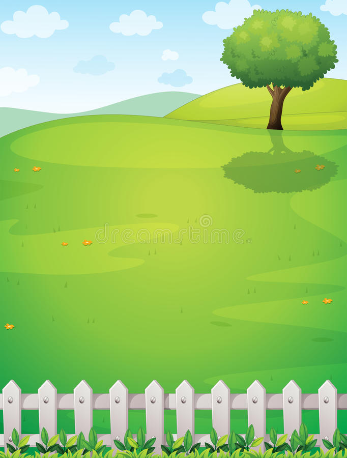 A giant tree at the hilltop vector illustration