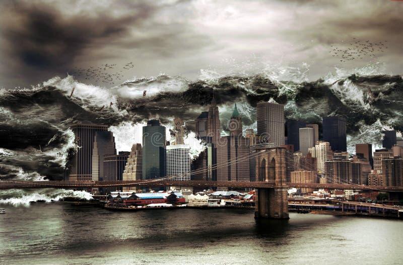 Giant tsunami. On Manhattan. An enormous wave breaks on the city