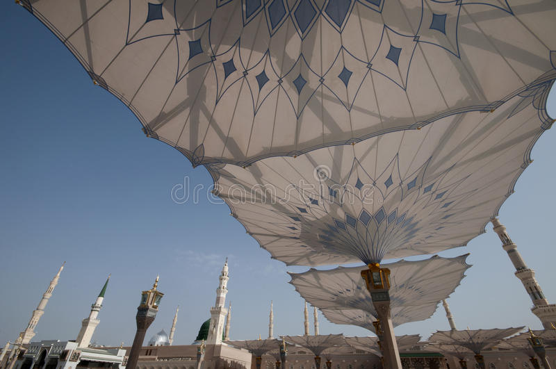 Giant umbrellas at Nabawi Mosque in Medina royalty free stock photos