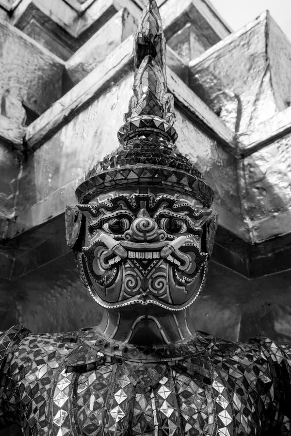 Giant of Wat Phra Kaew or Grand Palace, Bangkok, Thailand. Giant of Thailand stand in the Grand Palace Black stock photo