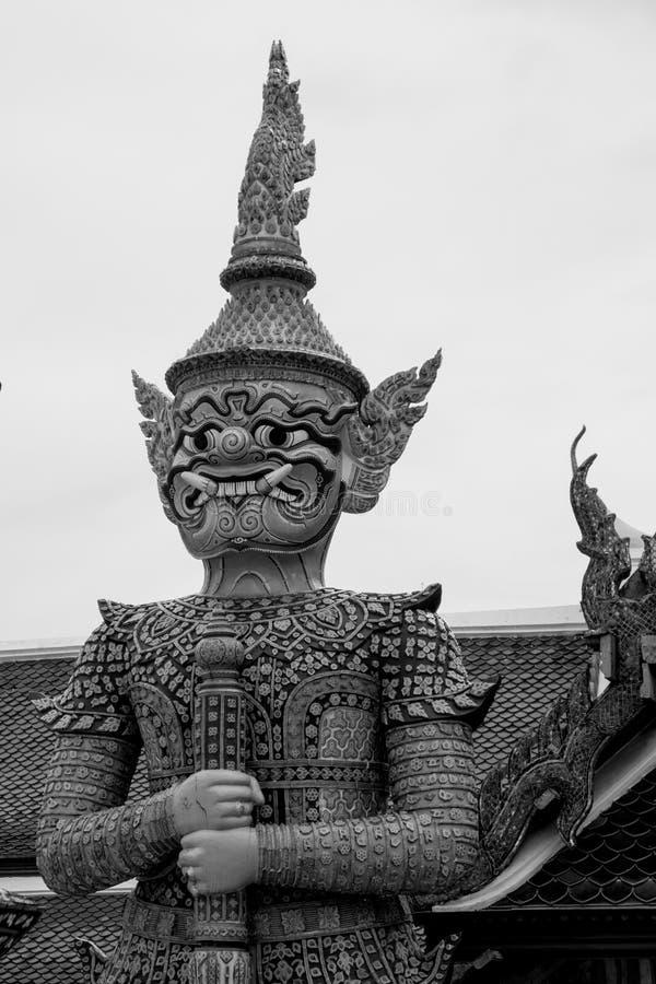 Giant of Wat Phra Kaew or Grand Palace, Bangkok, Thailand. Giant of Thailand stand in the Grand Palace, Black and White stock photos