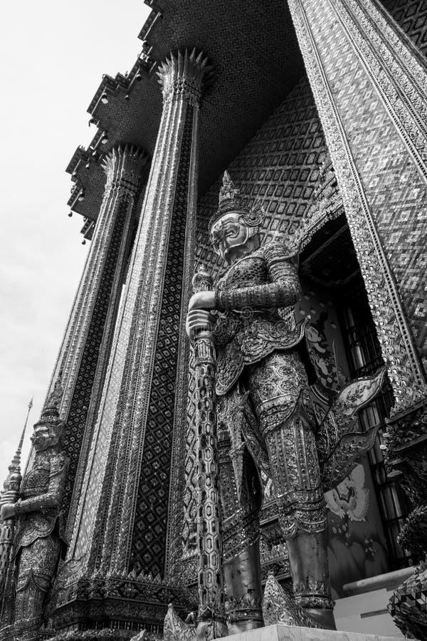 Giant of Wat Phra Kaew or Grand Palace, Bangkok, Thailand. Giant of Thailand stand in the Grand Palace, Black and White stock photo