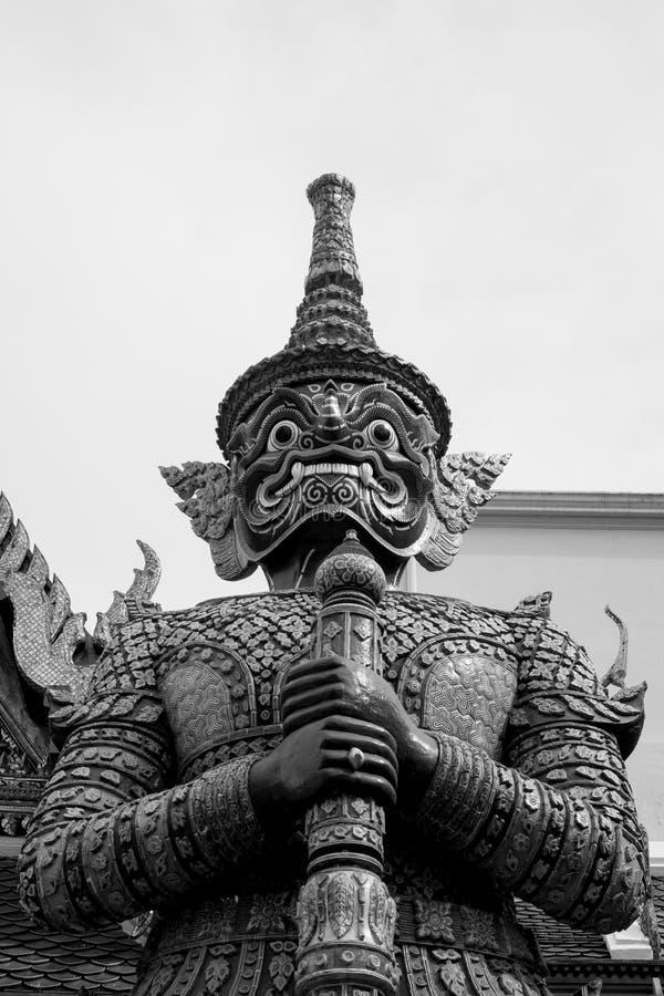Giant of Wat Phra Kaew or Grand Palace, Bangkok, Thailand. Giant of Thailand stand in the Grand Palace, Black and White royalty free stock photo