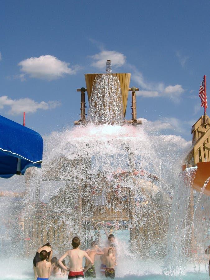 Giant Water Bucket Spills KERSPLASH! stock image