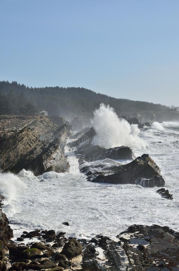 Giant Waves At Shore Acres State Park, Oregon stock photo