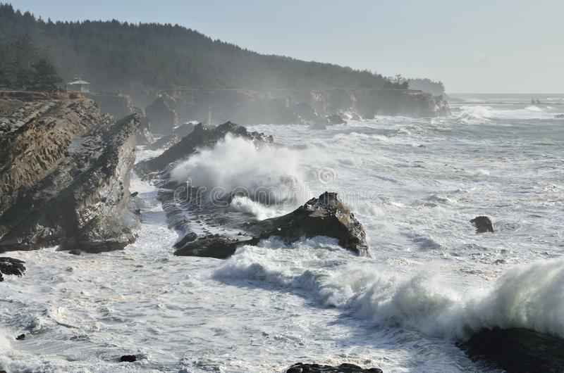 Giant Waves At Shore Acres State Park, Oregon stock photography