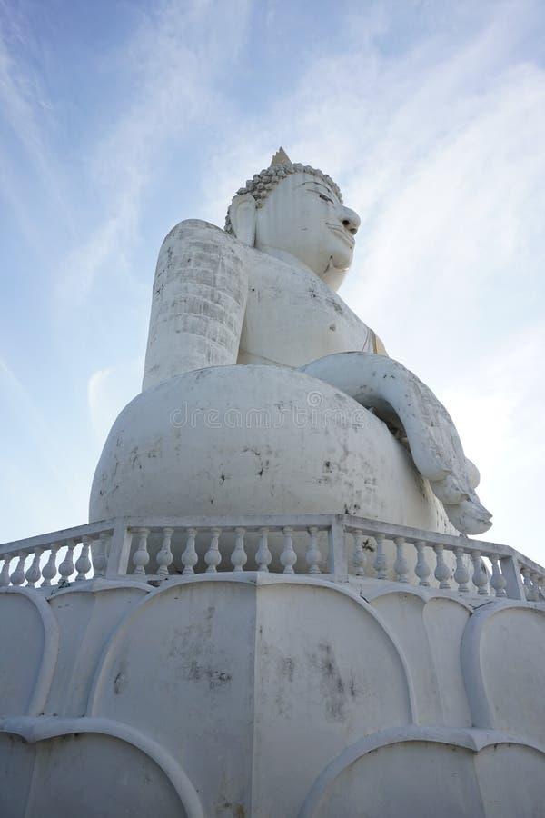 Giant white buddha statue under blue sky royalty free stock photos