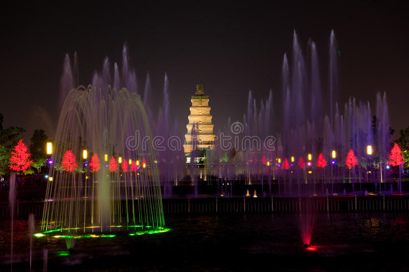 Giant Wild Goose Pagoda. Dancing fountains at Giant Wild Goose Pagoda in Xian, China stock image