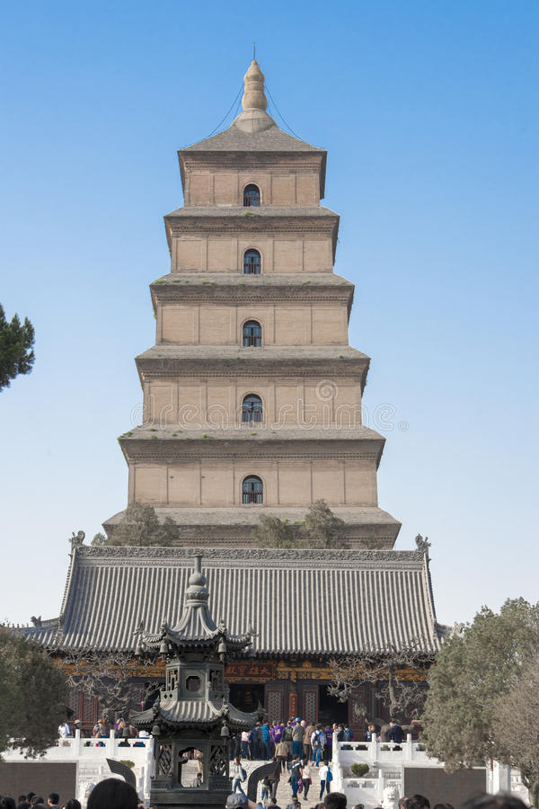 Giant Wild Goose Pagoda. Or Big Wild Goose Pagoda in Xian, China stock photo