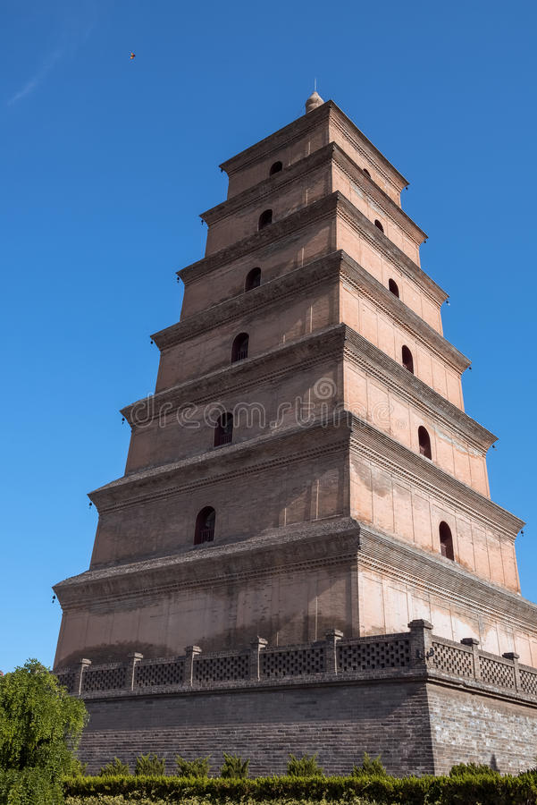 Giant Wild Goose Pagoda. On the blue sky background in Xi`an, China royalty free stock photo