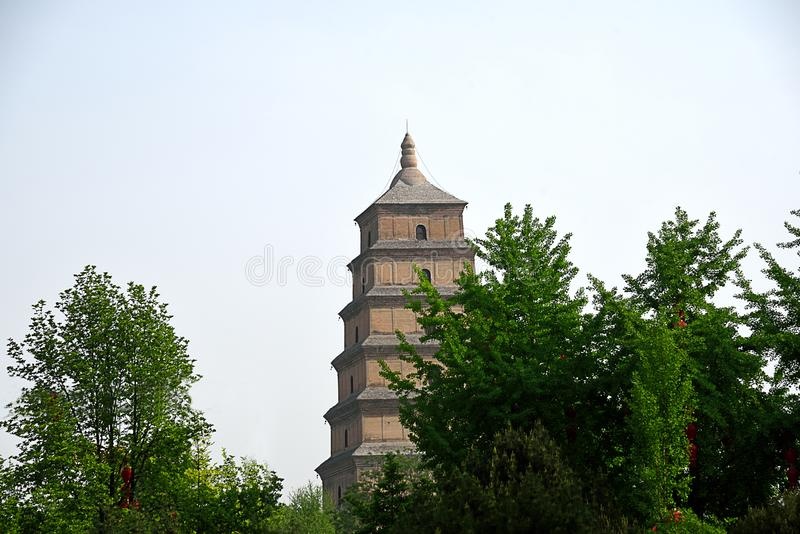 Giant Wild Goose Pagoda. In Xian with its current height of seven stories stock images