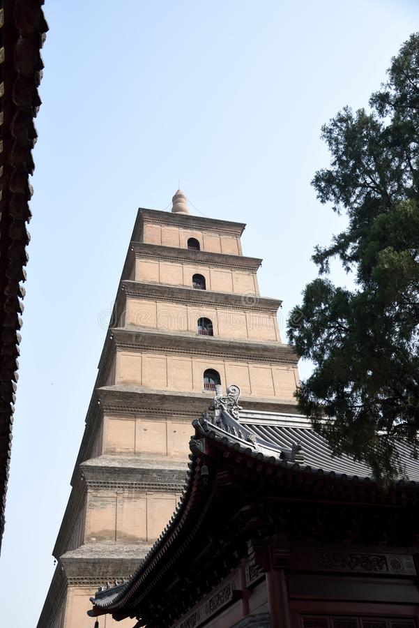 Giant Wild Goose Pagoda. In Xian with its current height of seven stories stock photos