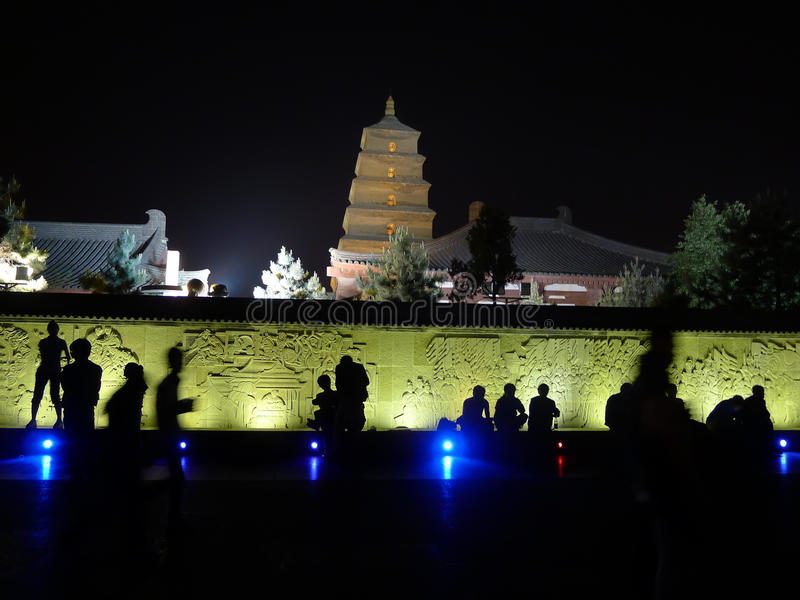 Giant Wild Goose Pagoda at night. Giant Wild Goose Pagoda located in XiAn China, it's the famous ancient architecture, they are regarded as a symbol of the stock image