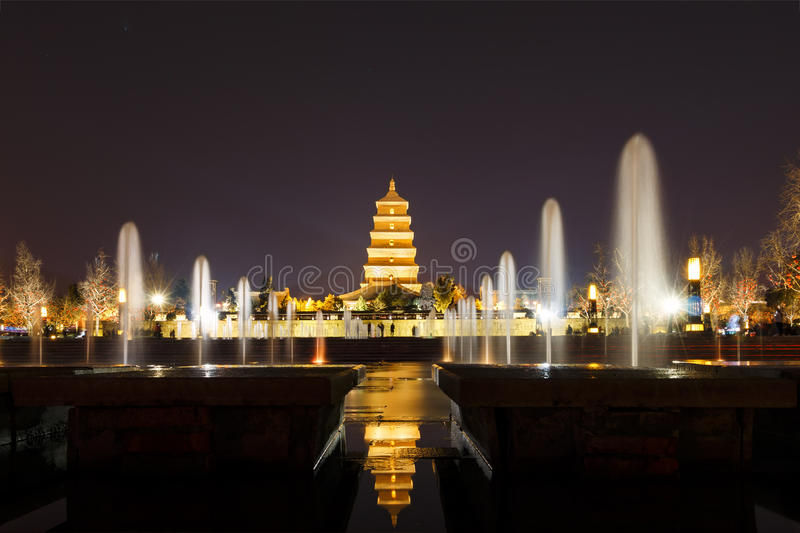 Giant Wild Goose Pagoda night. Giant Wild Goose Pagoda or Big Wild Goose Pagoda & x28;Chinese:大雁塔; pinyin:Dàyàn tǎ& x29;, is a Buddhist royalty free stock photography