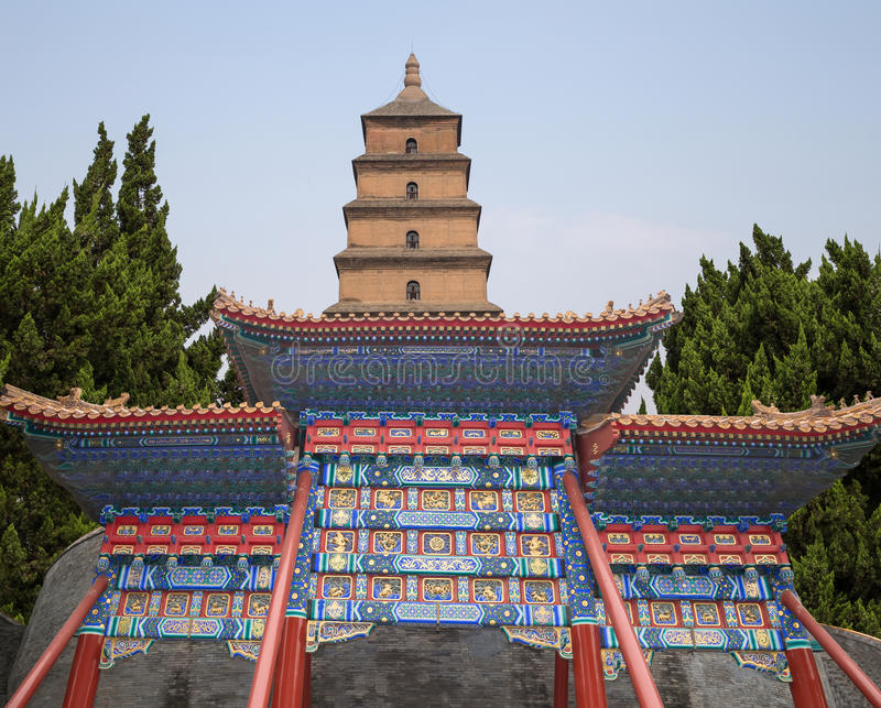Giant Wild Goose Pagoda-- southern Xian (Sian, Xi'an), Shaanxi province, China. Giant Wild Goose Pagoda (Big Wild Goose Pagoda), is a Buddhist pagoda located in royalty free stock image