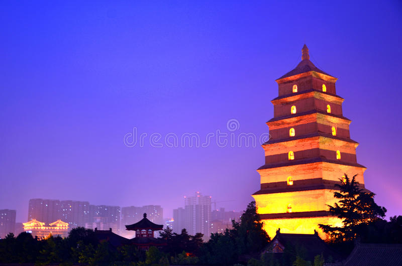 Giant Wild Goose Pagoda. In Xian,China stock photos