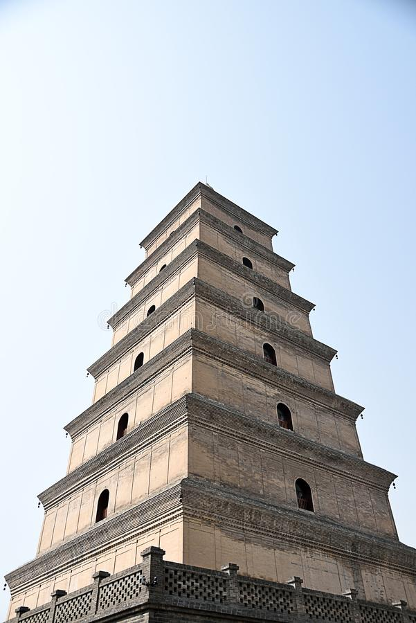 Giant Wild Goose Pagoda. In Xian with its current height of seven stories royalty free stock image