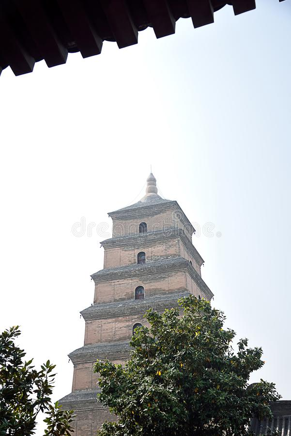 Giant Wild Goose Pagoda. In Xian with its current height of seven stories royalty free stock photos