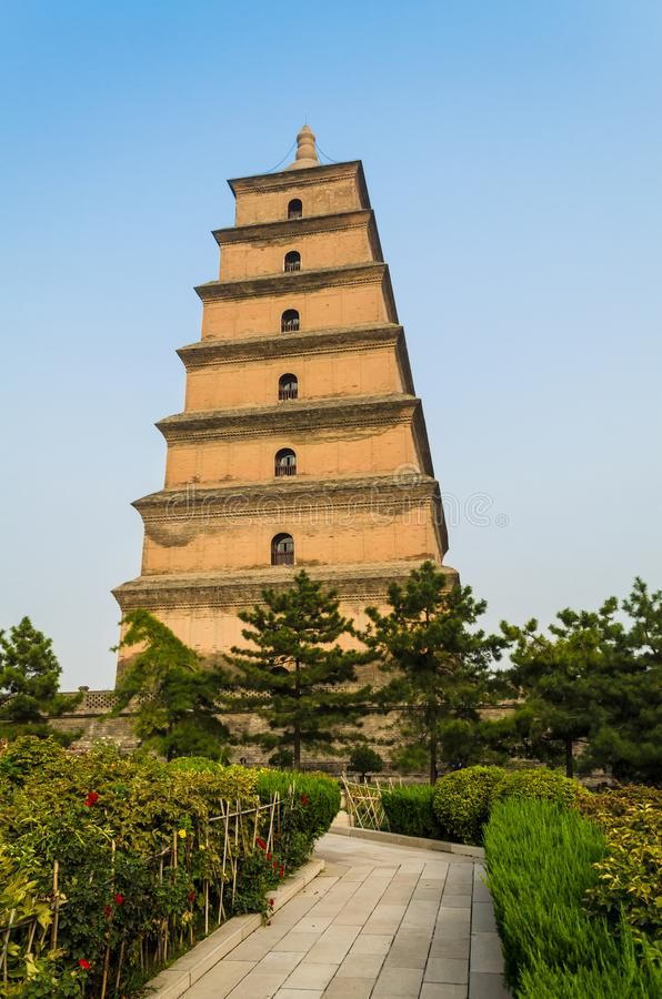 Giant Wild Goose Pagoda, Xian, Shaanxi province, China. Giant Wild Goose Pagoda Big or Wild Goose Pagoda, is a Buddhist pagoda located in southern Xian Sian, Xi` stock images
