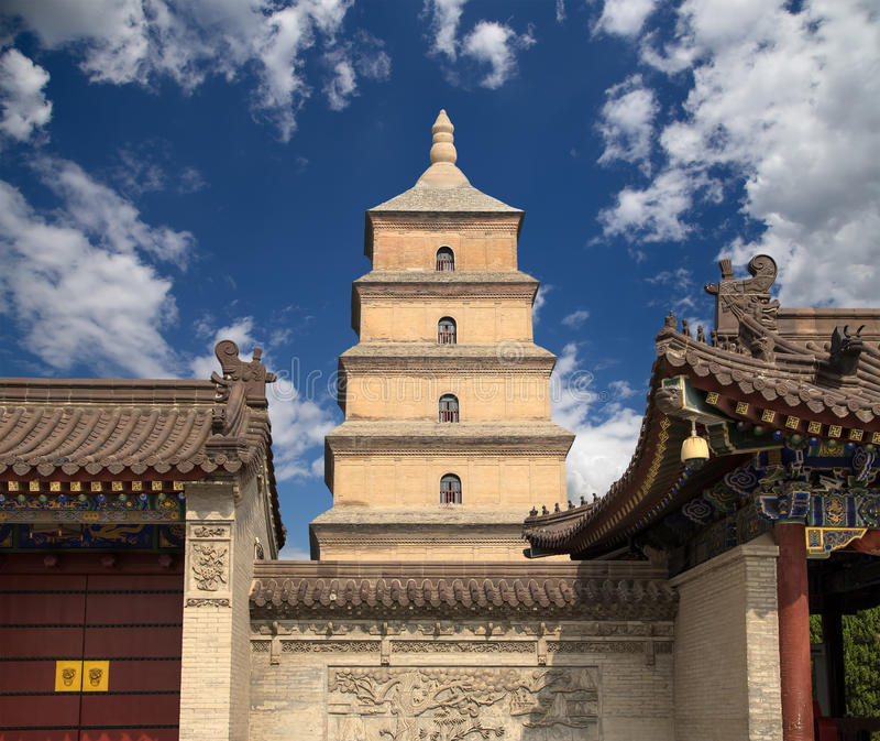 Giant Wild Goose Pagoda, Xian (Sian, Xi'an), Shaanxi province, China. Giant Wild Goose Pagoda (Big Wild Goose Pagoda), is a Buddhist pagoda located in southern royalty free stock photos