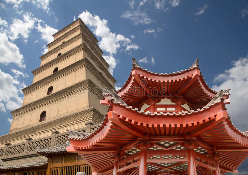 Giant Wild Goose Pagoda, Xian (Sian, Xi'an), Shaanxi province, China. Giant Wild Goose Pagoda (Big Wild Goose Pagoda), is a Buddhist pagoda located in southern royalty free stock images