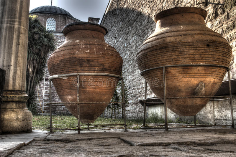 Giant Wine Pitchers at Topkapi Palace, Istanbul stock images