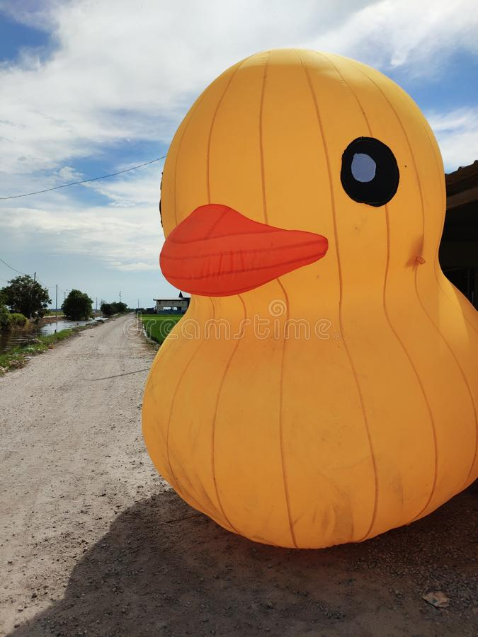 Giant yellow duck royalty free stock photography