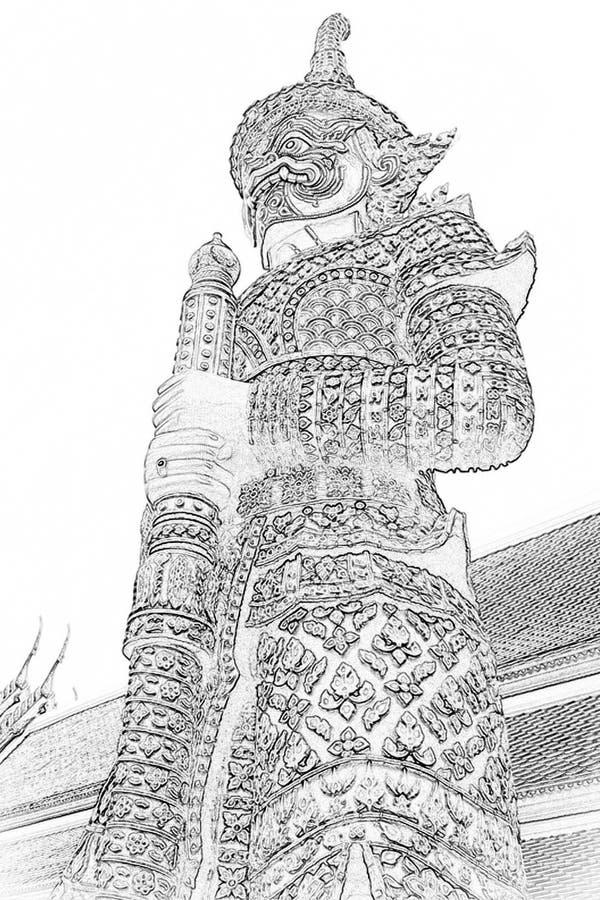Giantbilder framför tempel i Thailand royaltyfri bild