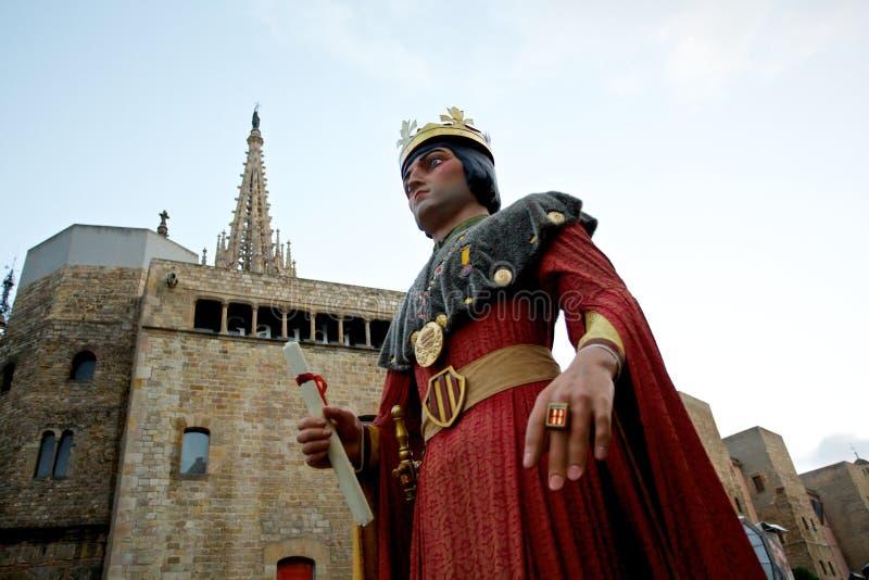 Giants проходят парадом в фестивале 2013 Mercè Ла Барселоны стоковые изображения