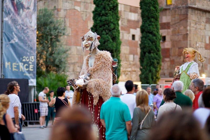 Giants проходят парадом в фестивале 2013 Mercè Ла Барселоны стоковое изображение