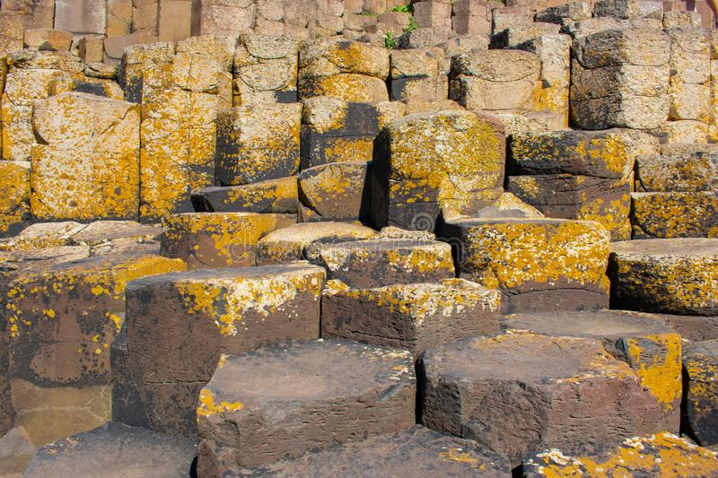 Giants Causeway most popular and famous attraction in Northern Ireland. Hexagon basalt columns after volcanic eruption royalty free stock photo