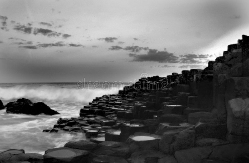 Giants Causeway Black and White stock photo