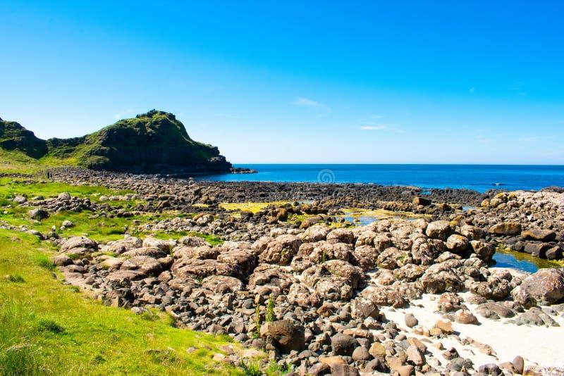 Giants Causeway on Coast of Atlantic Ocean in Northern Ireland. Beautiful landscape, summer time stock photo