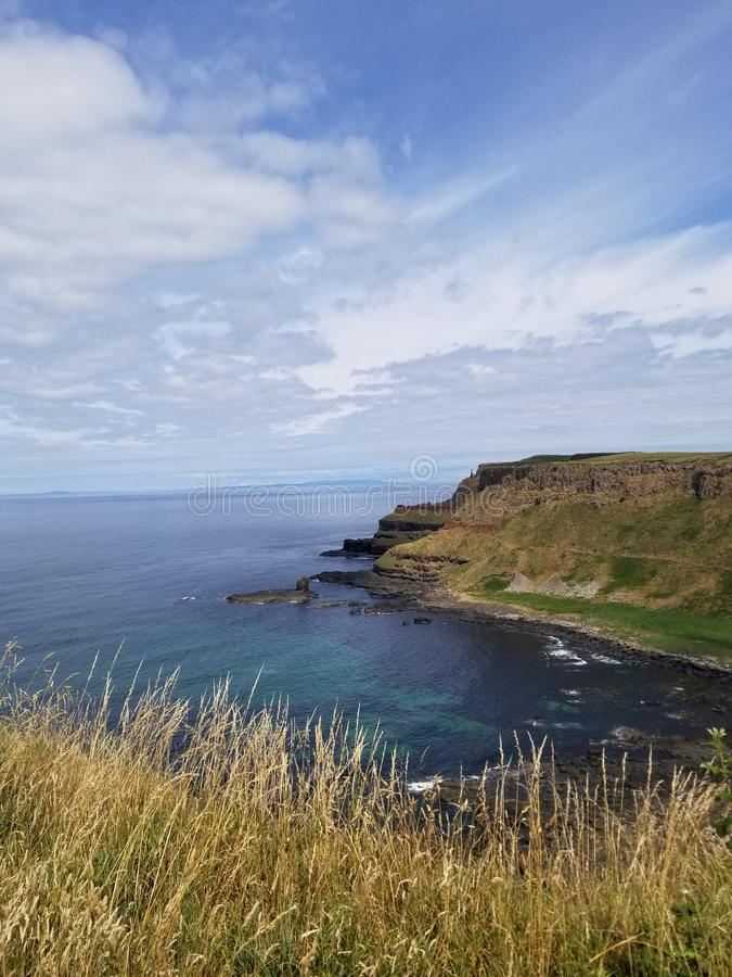 Giants cliffs. Bluewater grassroots ireland causeway hike outdide travel destination explore stock images