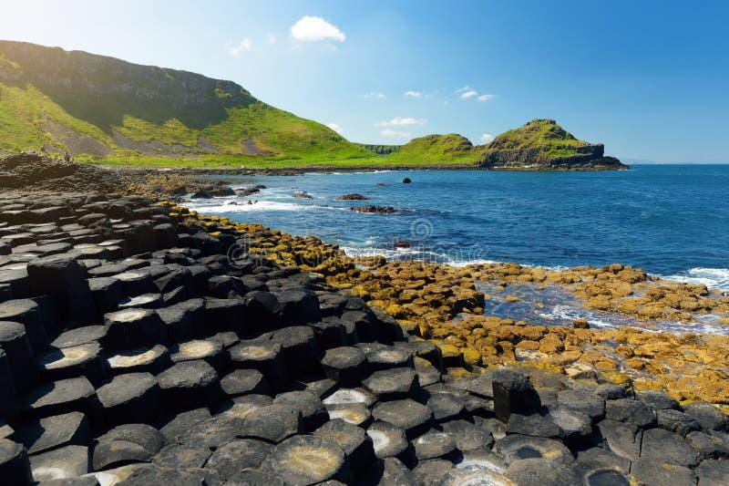 Giants-Damm, ein Bereich von sechseckigen Basaltsteinen, Grafschaft Antrim, Nordirland Berühmte Touristenattraktion, UNESCO-Welt lizenzfreies stockbild