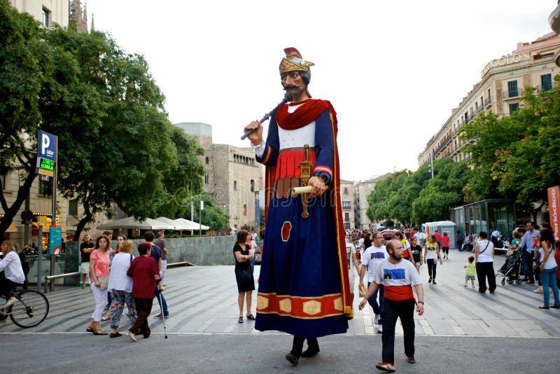 Giants desfila no La Mercè Festival 2013 de Barcelona imagens de stock royalty free