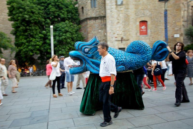 Giants desfila no La Mercè Festival 2013 de Barcelona fotos de stock royalty free