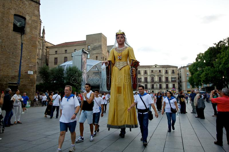 Giants desfila no La Mercè Festival 2013 de Barcelona foto de stock