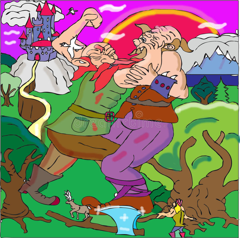 Giants fighting. We see two huge giants fighting full of rage their imposing height humbling the nearby trees. The red-beard giant is attempting to grab a lock vector illustration