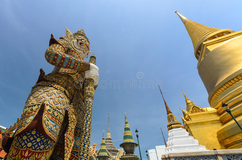 Giants in Grand palace and Wat Pra Keaw stock images