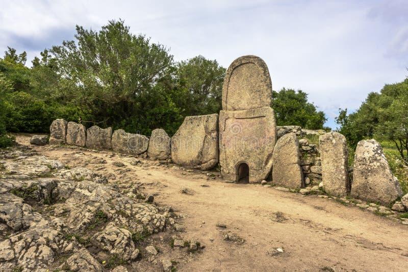 Giants` grave of Coddu Vecchiu built during the bronze age by the nuragic civilization, Doragli, Sardinia, Italy royalty free stock photography