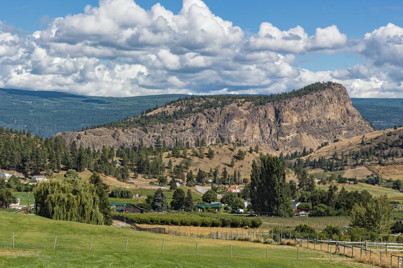 Giants Head Mountain near Summerland British Columbia Canada. With farmland in the foreground stock image