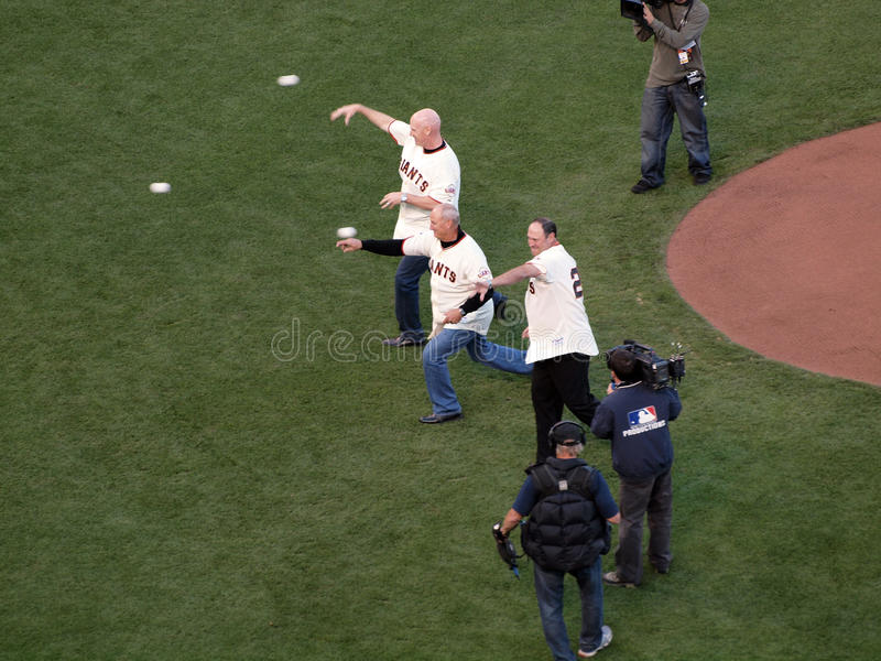 Giants Legends Throw Out The Honor Pitch To Start Editorial Photography