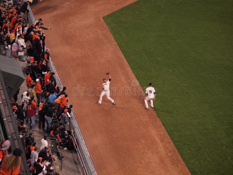 Giants Outfield grabs flyball on the warning track