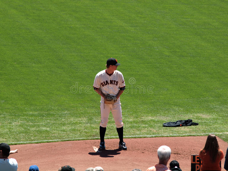 Giants Pitch Matt Cain stands on the mound in the bullpen as he stock images