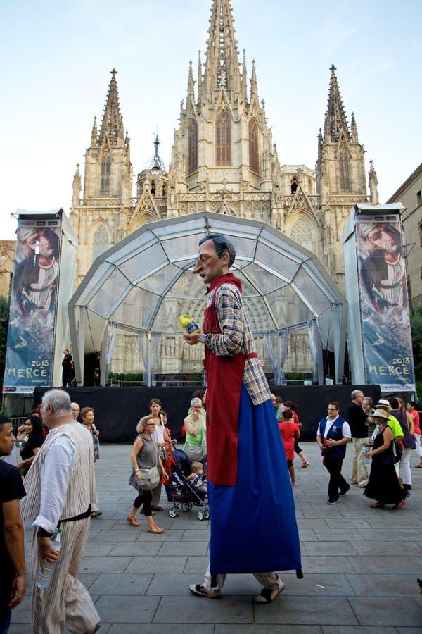 Giants sfoggia in La Mercè Festival 2013 di Barcellona fotografia stock libera da diritti